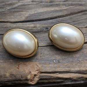 Vintage Pearl Cabochon Earrings with Gold Accents